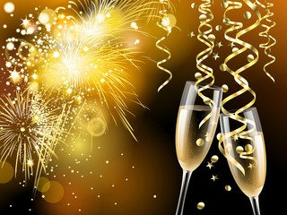 Two glasses of champagne, golden confetti and streamers on golden fireworks background, illustration
