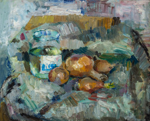 Beautiful Original Oil Painting of  still life  ..pot bulb on fabrics On Canvas in yellow and blue colors in the style of Impressionism