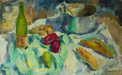 Beautiful Original Oil Painting of  still life pepper, corn casserole, cloth  On Canvas