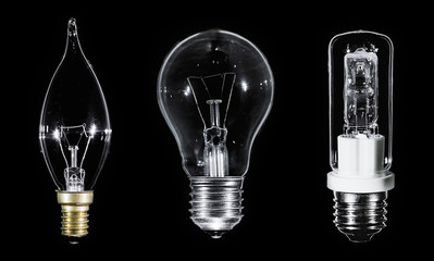 Collage of 3 Edison lamps over black