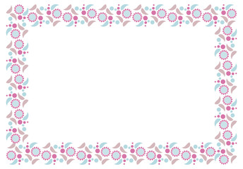 Elegant frame with decorative sunflowers silhouettes in a blue color. Vector clip art.