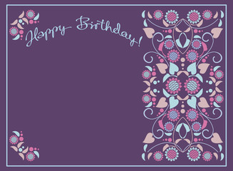 Greeting card for birthday. Vector clip art.