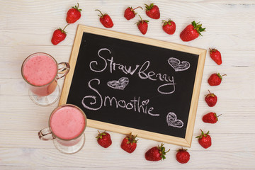 Strawberry smoothie in the glass