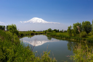 Poster Reflexion Landscape view of the Mount of Ararat reflected in the river of the Sev Jur (Black water)