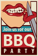 Retro banner barbecue grill party with a human-eating mouth piece of meat with a knife
