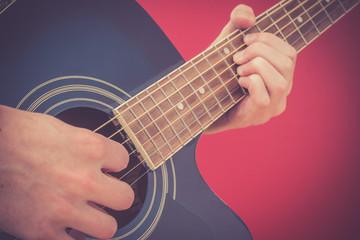 Gitarre spielen, Westerngitarre, Vignettierung