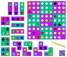 Logic Sudoku game - need to complete the puzzle using the remaining details and paint the stars in corresponding colors. Vector image.