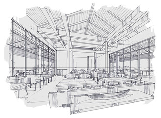 sketch stripes all day & restaurant , black and white interior design.
