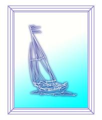 картина в рамке с изображением парусной яхты с людьми на сине-белом фоне