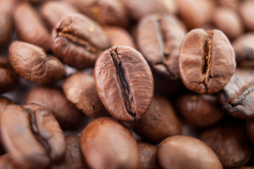 Macro bean coffee on the coffee beans background