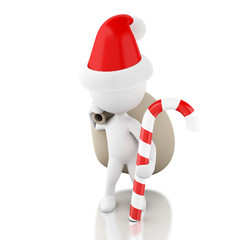 3d Santa Claus with bag of gifts and christmas candy. Christmas