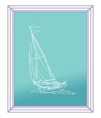 картина в рамке с изображением парусной яхты с людьми на голубом фоне