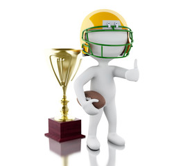 3d American football player with ball and trophy.