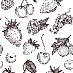Hand drawn vector seamless pattern - Collection of berries (rasp