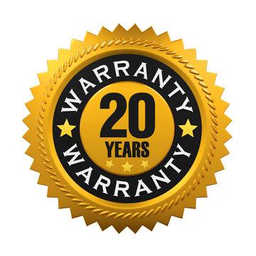 20 Years Warranty Sign. 3D rendering
