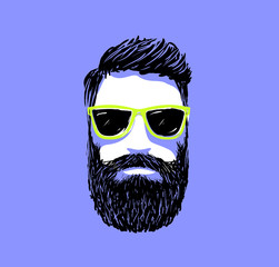 Hipster fashion bearded man portrait in sunglasses, Hand drawn vector illustration.