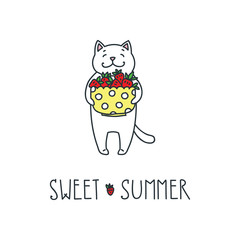 Sweet summer. Doodle vector illustration of funny white cat holding strawberries