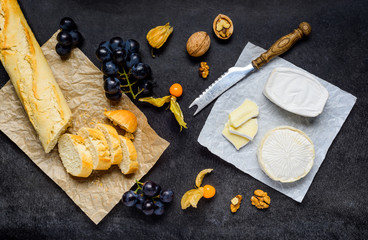 Cheese French Bread And Fruits