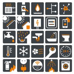vector icon set Strom, Gas, Wasser, Wärme zweifarbig