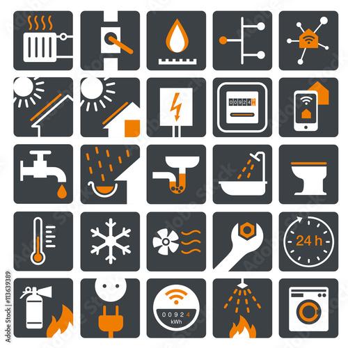vector icon set strom gas wasser w rme zweifarbig stockfotos und lizenzfreie vektoren auf. Black Bedroom Furniture Sets. Home Design Ideas
