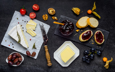 Brie Cheese with Jam, Bread and Butter