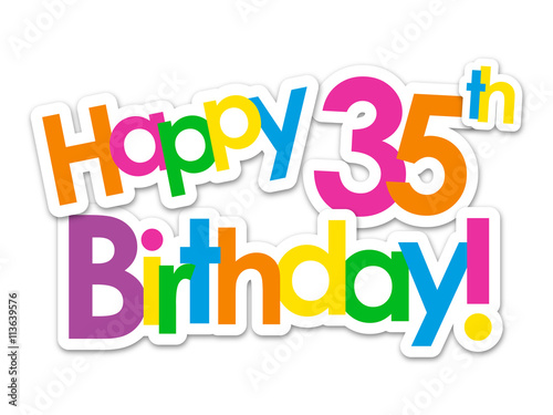 Quot Happy 35th Birthday Vector Card Quot Stock Image And Royalty