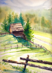 Wooden hut in mountains.Picture created with watercolors.