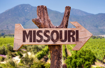 Missouri wooden sign countryside background