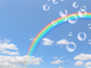 青空とシャボン玉と虹