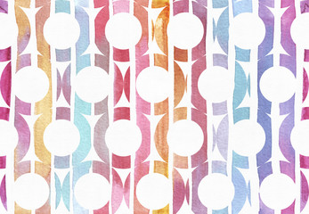 Large raster horizontal seamless illustration with pattern made of gradient red, purple and yellow stripe bagels. Hand drawn with watercolor background, good for print, fabric, creative design.