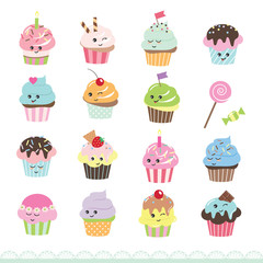 Kawaii cupcakes set. Cute cartoon characters.