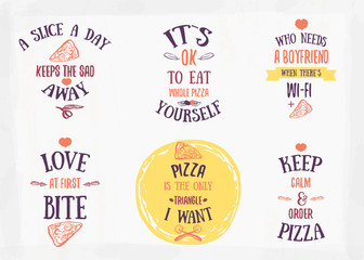 Pizza quote typographical set. Vector illustration of pizza in hand drawn cartoon style. Can be used for poster, wrapping, banners. site background.