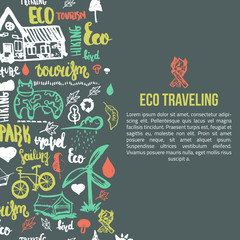Eco travel banner on dark background. Ecology concept with lettering and hand drawn elements.