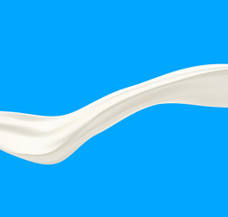 Vector realistic milk wave on blue background