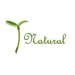 Label natural sprout symbol, isolated vector