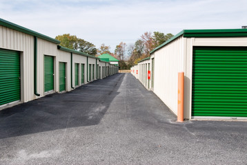 Mini Storage Warehouse Buildings with Green Doors
