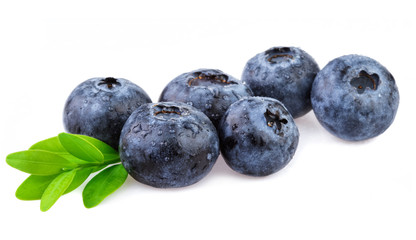Blueberries with leaf isolated on white.