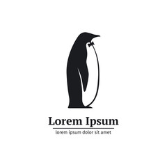 Logo penguin black and white standing in profile