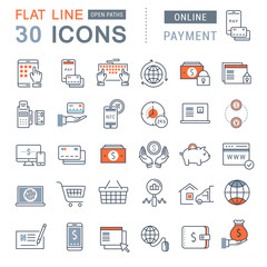Set Vector Flat Line Icons Online Payment