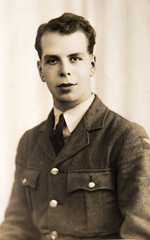 English soldier 1940th, vintage portrait of young man
