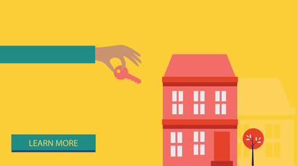 Sale purchase and rental of property. key in hand - Vector illustration
