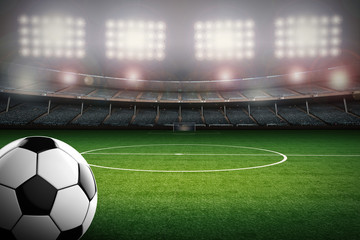 soccer ball with soccer stadium background