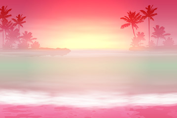 Background with sea and palm trees. Sunset time.