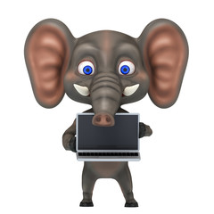 3d render illustration Cartoon elephant with laptop