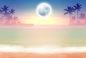 Beach with palm trees and full moon at night