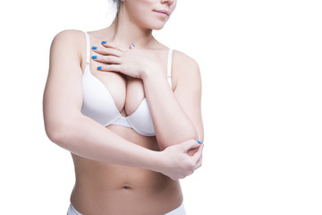 Young beautiful caucasian woman with large natural breasts. Copy space