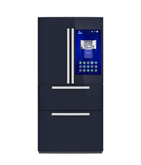 Front view of smart refrigerator. User can manage food or purchase new one by touch screen interface. 3D rendering image.