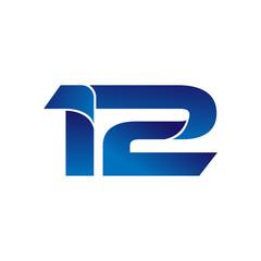 Simple Numbers Logo Vector Blue 12