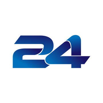Simple Numbers Logo Vector Blue 24