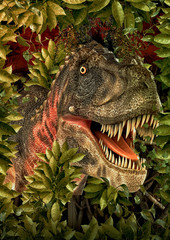 tarbosaurus in the jungle